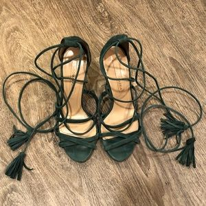 Tie Up Emerald Suede Heels